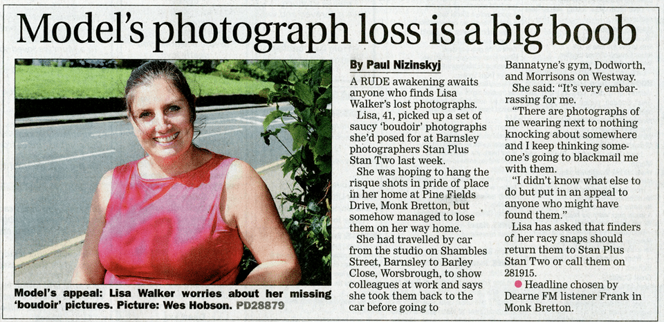 Stan Plus Stan Two - Lisa Walker loses boudoir photos - Barnsley Chronicle